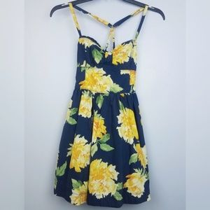 Abercrombie and Fitch blue dress with yellow roses